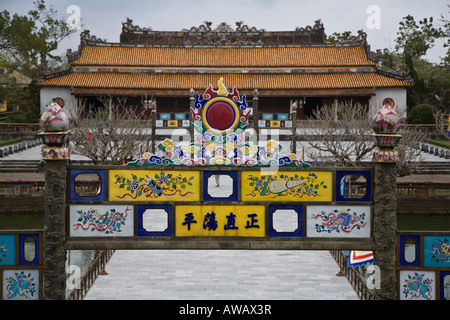 View of the THAI HOA PALACE from atop the NGO MON GATE in the IMPERIAL CITADEL HUE VIETNAM - Stock Photo