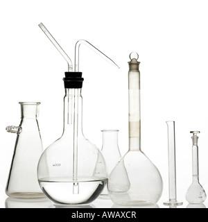 laboratory bottles on white - Stock Photo