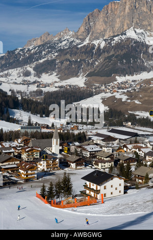 Village of Corvara in winter snow ,Dolomites , Italy. - Stock Photo