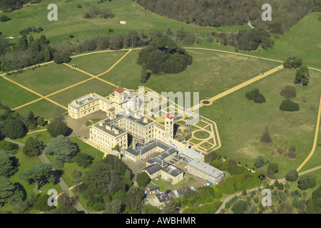 Aerial view of Osborne House on the Isle of Wight, which is the former royal residence of Queen Victoria - Stock Photo