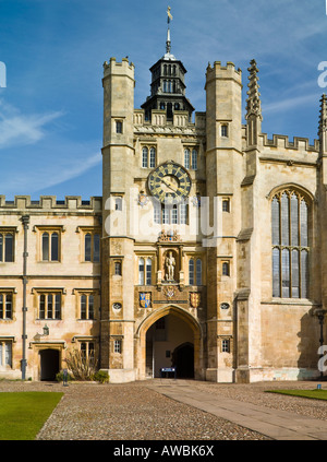 The  Clock Tower, or King's Gate, the Great Court, Trinity College, Cambridge, England - Stock Photo