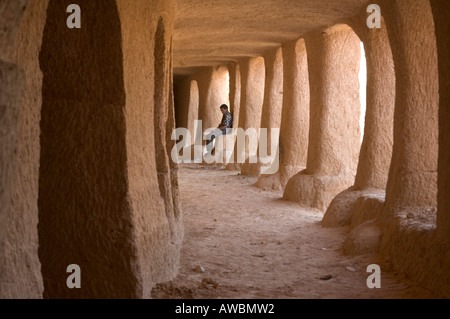 Inside a troglodyte dwellings near Matmata, Tunisia. - Stock Photo