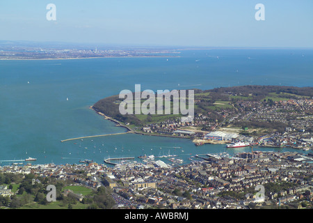 Panoramic aerial view of Cowes and East Cowes on the Isle of Wight featuring the ferry terminal and the boat yards - Stock Photo