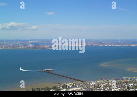 Panoramic aerial view of Ryde and the Pier Head Station on the Isle of Wight with views across the Solent to Portsmouth - Stock Photo