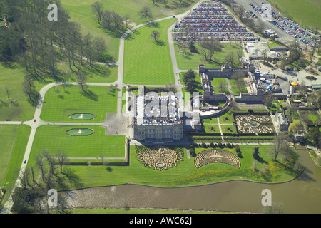Aerial view of Longleat House shown with it's formal gardens and lake. The stately home is famous for it's Safari - Stock Photo