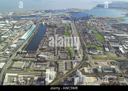 Aerial view of the Atlantic Wharf area of Cardiff Bay in Wales - Stock Photo