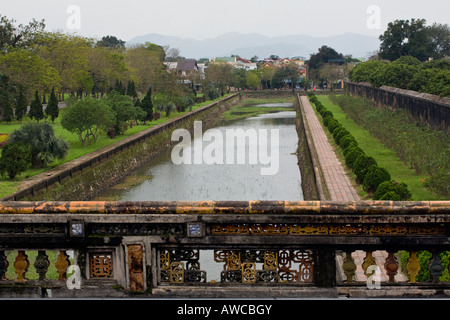 A view of the moat surrounding the IMPERIAL CITADEL HUE VIETNAM - Stock Photo
