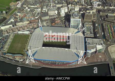 Aerial view of the Millennium Stadium in Cardiff, Wales, home of Welsh Rugby Union and the venue for concerts & - Stock Photo