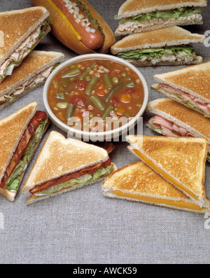 assorted sandwich sandwiches  vegetable soup hot dog roll onion BLT bacon lettuce tomato tomatoe chicken tuna salad - Stock Photo