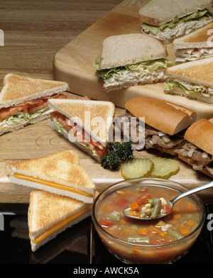 assorted soup sandwich combos toasted cheese chicken salad tuna bacon lettuce tomato tomatoe vegetable soup steak - Stock Photo
