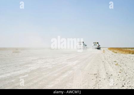 Offroad tour over a big salt pan, Sowa Pan, Makgadikgadi pans, Botswana, Africa - Stock Photo