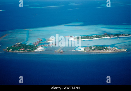 Aerial View of Maldives Islands Maldives Indian Ocean South Male Atoll - Stock Photo
