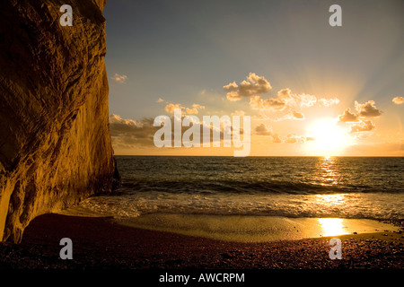 Aphrodite's Cliffs in the evening light, Cyprus, Europe - Stock Photo