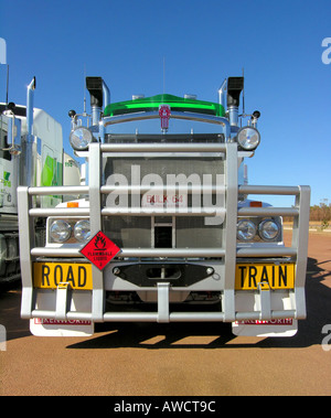 Brand new road trains parked at a gas station. - Stock Photo