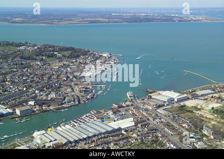 Panoramic aerial view of Cowes & East Cowes on the Isle of Wight featuring the ferry terminal, boat yards & the - Stock Photo