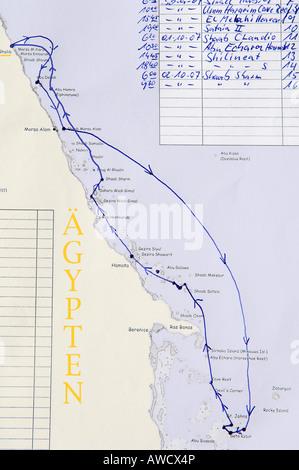 Ship route for tourist dive excursion, Red Sea, Egypt - Stock Photo