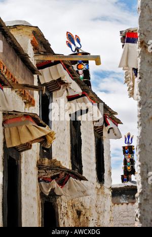 Small lane, Palcho Monastery or Pelkor chode or Shekar, Gyantse, Tibet - Stock Photo