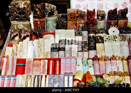 Stone stamps in a shop window, in the old part of Shanghai, China, Asia - Stock Photo
