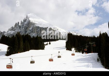 Seiser Alm ski district, Mt. Plattkofel, South Tyrol, Bolzano-Bozen, Italy, Europe - Stock Photo