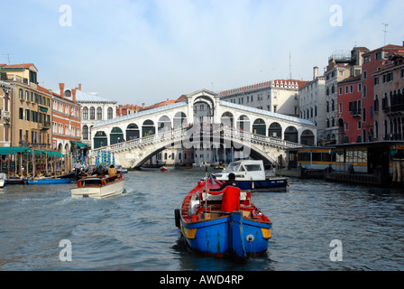 Rialto Bridge (Italian: Ponte di Rialto), Canale Grande, Venice, Veneto, Italy, Europe - Stock Photo