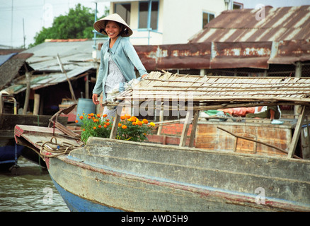 Woman Travelling On Barge - Stock Photo