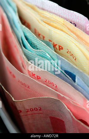 A lot of Euro bank notes in a purse - Stock Photo
