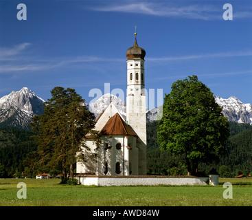 Church of pilgrimage, St Coloman near Fuessen, Thannheimer Mountains, Allgaeu, Bavaria, Germany - Stock Photo