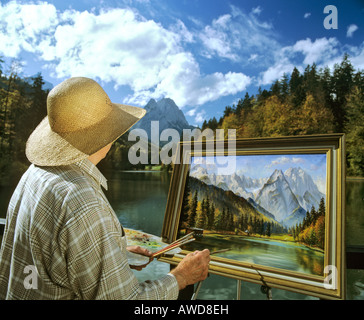Landscape artist at Lake Riessersee near Garmisch-Partenkirchen, Wetterstein Range, Upper Bavaria, Bavaria, Germany, - Stock Photo
