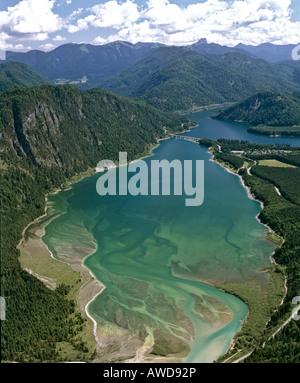 Sylvenstein reservoir, Sylvenstein bridge, Isar, aerial view, Upper Bavaria, Germany - Stock Photo