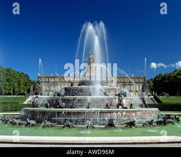 Neues Schloss (New Castle) Herrenchiemsee, fountain, Herreninsel, Chiemsee, Upper Bavaria, Germany - Stock Photo