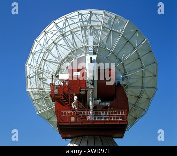 Antenna of the Satellite Earth Station Raisting, technician, Upper Bavaria, Bavaria, Germany - Stock Photo