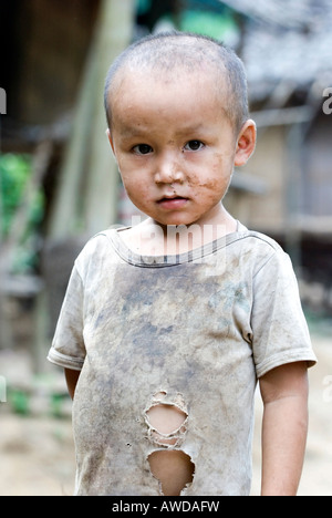 Portrait of a boy, refugee camp Ei Tu Hta, IDP-Area bordering Thailand near Mae Sariang, Birma - Stock Photo