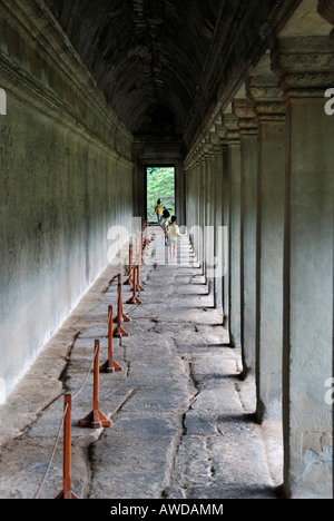 Arcades in Angkor Wat tempel, Cambodia - Stock Photo