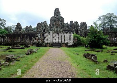 Tempel Bayon in the ancient city Angkor Thom, Cambodia - Stock Photo