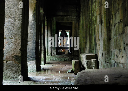 Arcades in the ruins of the tempel Bayon in the ancient city Angkor Thom, Cambodia - Stock Photo
