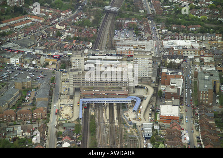 Aerial view of Wembley Central Station on the High Road in Wembley, Middlesex - Stock Photo