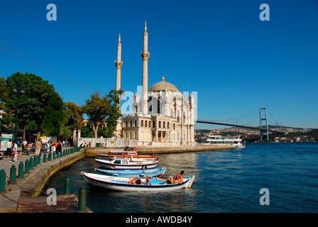 Ortakoey Camii (Ortakoey Mosque) at the Bosporus, Istanbul, Turkey - Stock Photo