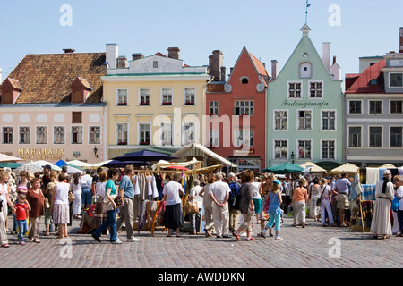Visitors at the medieval market at the square in front of the town hall in Tallinn, Estonia, Europe - Stock Photo