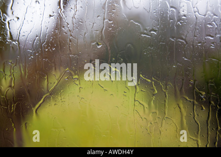 View through window with rain drops of water on pane outside during bad wet weather. UK Britain - Stock Photo