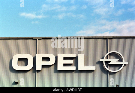 The logo of Opel on the factory building in Gliwice, Poland - Stock Photo