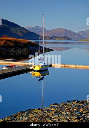 Yacht berthed on Loch Leven, Ballachulish, Lochaber, Scotland, UK, Europe - Stock Photo
