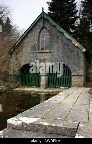 Boathouse on the shore of Lough Corrib in the grounds of Ashford Castle, County Galway, Republic of Ireland - Stock Photo