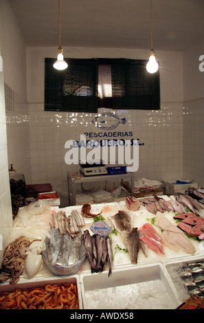 A variety of different sorts of fish for sale in a Spanish market Trujillo Extremadura Spain - Stock Photo