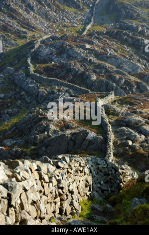 Dry Stone Wall in the mountains of North Wales leading away into the distance - Stock Photo