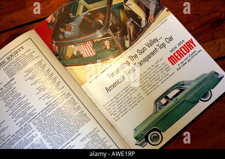 Car advertisement in 1950s National Geographic magazine; EDITORIAL USE ONLY - Stock Photo