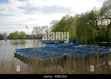 Blue Rowing Boats on the Boating Lake Regents Park London in March - Stock Photo