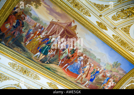 Italy Caserta the apartments of the Royal Palace detail of the throne room - Stock Photo