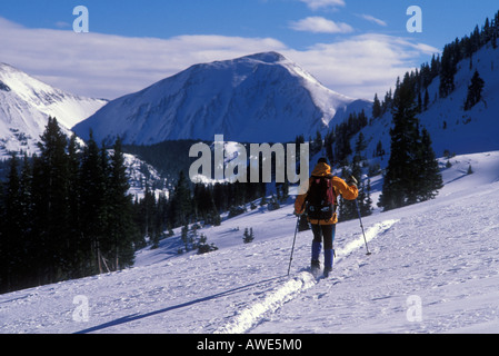 Cross country skiing in the mountains - Stock Photo