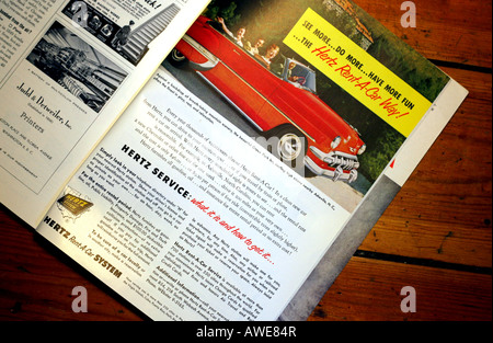 Hertz car rental advert in 1950s National Geographic magazine: EDITORIAL USE ONLY - Stock Photo