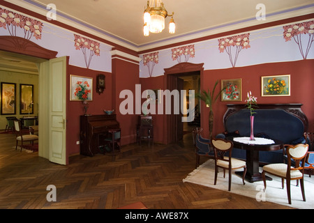 Parlour, Villa Ammende in Paernu, Estonia, Europe - Stock Photo
